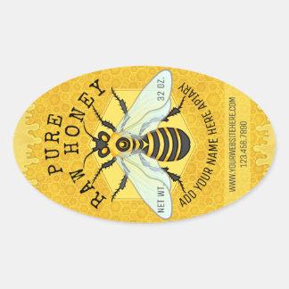 Sticker Ovale Le rucher de pot de miel d'abeille marque