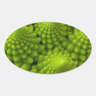 Sticker Ovale Légume de fractale de brocoli de Romanesco
