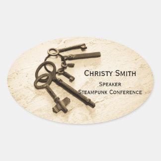 Sticker Ovale Les fausses clés antiques sur le nom d'anneau