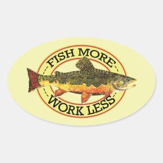 Sticker Ovale Les poissons humoristiques davantage - travaillez