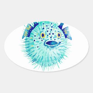 Sticker Ovale Les Pufferfish de Neptune