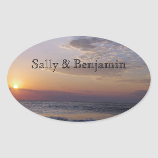 Sticker Ovale Lever de soleil de plage