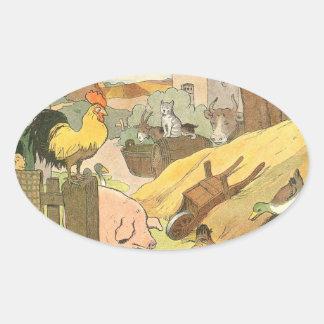 Sticker Ovale Livre d'histoire d'animaux de ferme illustré