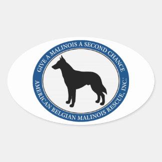 Sticker Ovale Logo de délivrance de Malinois,