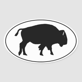 Sticker Ovale Logo d'ovale de bison américain