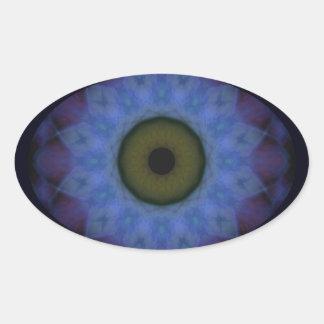 Sticker Ovale Mandala bleu violet mauvais d'horreur