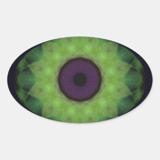 Sticker Ovale Mandala de chaux d'oeil mauvais d'horreur