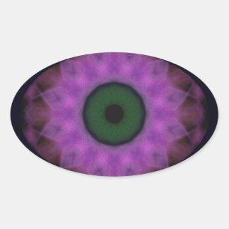 Sticker Ovale Mandala de pourpre d'oeil mauvais d'horreur