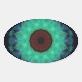 Sticker Ovale Mandala de Teal d'oeil mauvais d'horreur