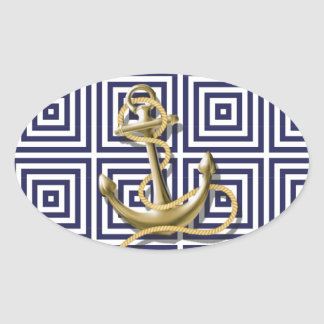 Sticker Ovale Mariage nautique d'ancre de motif de bleu marine