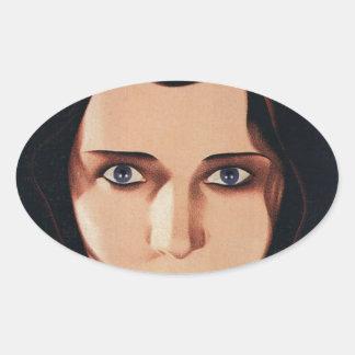 Sticker Ovale Mauvaise jeune femme russe
