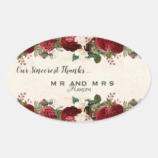 Sticker Ovale Merci de cru de roses rouges et de feuille de