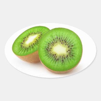 Sticker Ovale Moitiés de kiwi