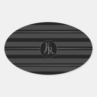 Sticker Ovale Monogramme facultatif de smoking d'étain noir de