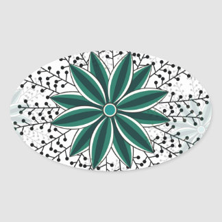 Sticker Ovale motif de fleur 6