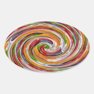 Sticker Ovale Motif de vague fruité décoratif de pirouette