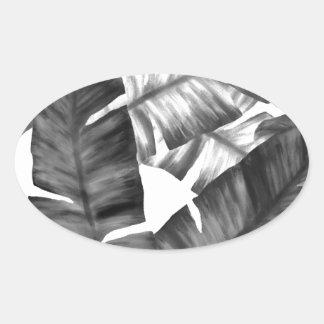 Sticker Ovale Motif tropical noir et blanc de feuille de banane