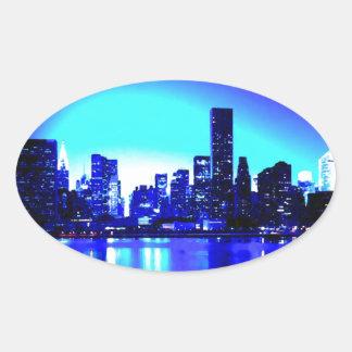 Sticker Ovale New York City bleu