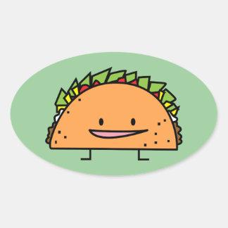 Sticker Ovale Nourriture heureuse de Mexicain de Salsa de viande
