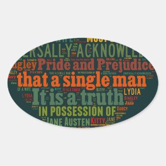 Sticker Ovale Nuage de mot de fierté et de préjudice