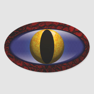 Sticker Ovale Oeil jaune rouge de cuir de Faux d'alligator