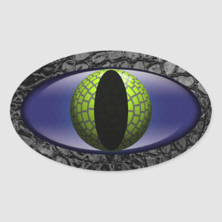Sticker Ovale Oeil vert noir de cuir de Faux d'alligator
