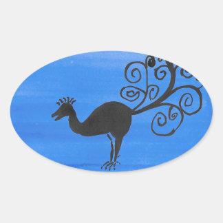 Sticker Ovale Oiseau fantastique