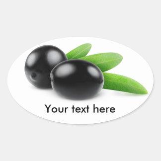 Sticker Ovale Olives noires avec le feuille