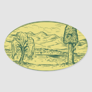 Sticker Ovale Ovale Drawin de montagnes de lac tree de saule et
