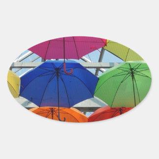 Sticker Ovale parapluie coloré