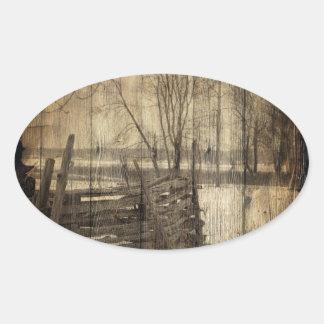 Sticker Ovale Paysage primitif de ferme de barrière de pays