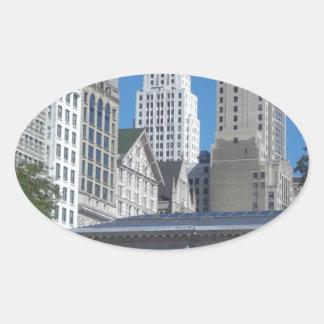 Sticker Ovale Paysage urbain de Chicago