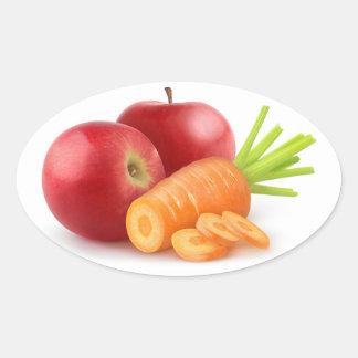 Sticker Ovale Pommes et carotte
