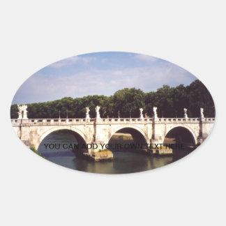 Sticker Ovale Pont de Sant'Angelo à Rome, Italie
