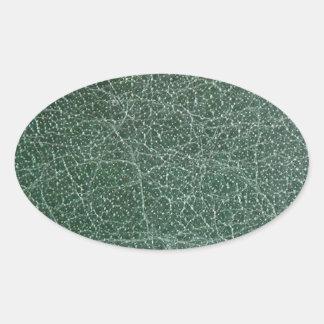 Sticker Ovale Profondément vert-foncé sur la finition en cuir