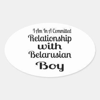 Sticker Ovale Rapport avec le garçon biélorusse