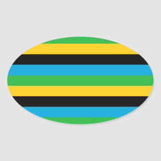 Sticker Ovale Rayures de drapeau de la Tanzanie