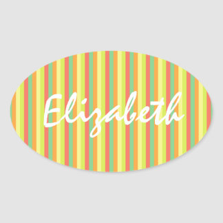 Sticker Ovale Rayures sauvages d'été personnalisées