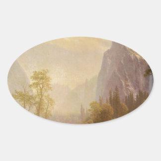 Sticker Ovale Recherchant la vallée de Yosemite - Albert