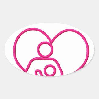 Sticker Ovale roches d'allaitement au sein. Mère et cadeau de