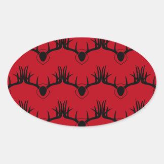Sticker Ovale Rouge d'Antler de cerfs communs