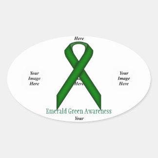 Sticker Ovale Ruban standard de vert vert par Kenneth Yoncich