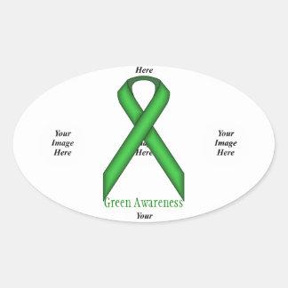 Sticker Ovale Ruban standard vert par Kenneth Yoncich