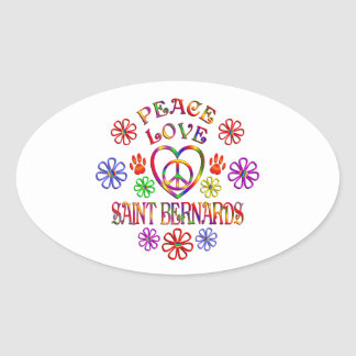 Sticker Ovale Saint Bernards d'amour de paix