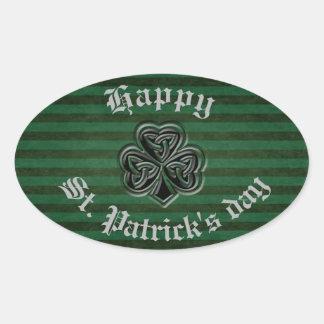 Sticker Ovale Shamrock chanceux irlandais de grundge d'amusement