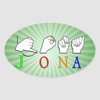 STICKER OVALE SIGNE NOMMÉ DE JONA ASL FINGERSPELLED