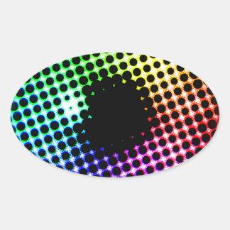 Sticker Ovale Spectre de couleur d'oeil de licorne d'iris