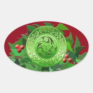 Sticker Ovale Spirale celtique de Noël avec le houx
