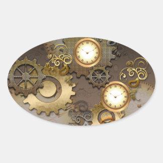 Sticker Ovale Steampunk, horloges et vitesses