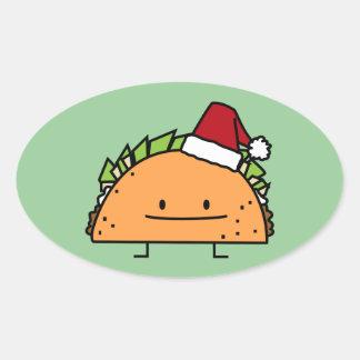 Sticker Ovale Taco portant le Salsa de viande de coquille de